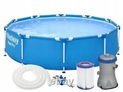18in1 BestWay SWIMMING POOL 305cm 10FT Garden Round Frame Ground Pool + PUMP SET