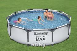 20in1 BestWay SWIMMING POOL 366cm 12FT Garden Round Frame Ground Pool + PUMP