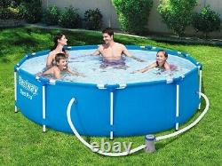 20in1 BestWay SWIMMING POOL 366cm 12FT Garden Round Frame Ground Pool + PUMP SET