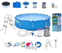 21in1 BestWay SWIMMING POOL 305cm 10FT Garden Round Frame Ground Pool + PUMP SET