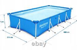 8in1 BestWay SWIMMING POOL 400 x 211 Rectangular Garden Above Ground Pool + PUMP