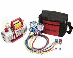 Kozyvacu AUTO AC Repair Complete Tool Kit (Vacuum Pump + Manifold)
