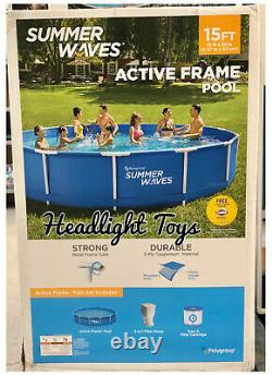 Summer Waves 15 x 33 Active Metal Frame Above Ground Swimming Pool Filter Pump