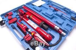 10 Ton Porta Puissance Hydraulique Jack Air Pump Lift Ram Body Frame Repair Tool Kit