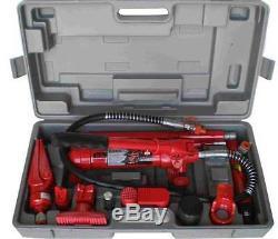 10 Ton Porta Puissance Hydraulique Jack Air Pump Lift Ram Repair Tool Kit Carrosserie