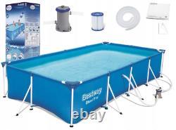 11in1 Bestway Swimming Pool 400 X211 Jardin Rectangulaire Au-dessus De La Piscine Au Sol + Pump