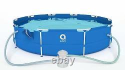 16in1 Meilleure Piscine 366cm 12ft Garden Round Frame Ground Pool + Pump Set