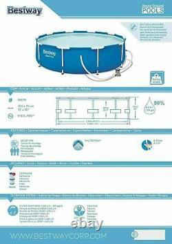 18in1 Bestway Wimming Pool 305cm 10ft Jardin Round Frame Ground Pool + Pump Set