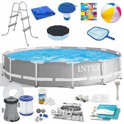 21in1 Swimming Pool Intex 366cm 12ft Garden Round Ground Frame Pool + Pump Set