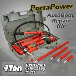 4 Ton Porta Puissance Hydraulique Jack Air Pump Lift Ram Body Frame Repair Tool Kit