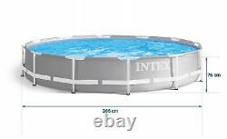 9in1 Swimming Pool Intex 366cm 12ft Garden Round Frame Ground Pool + Pump Set