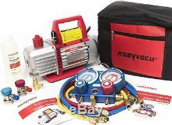 Auto Ac Complete Repair Tool Kit Avec 1-etape 3.5 Cfm Pompe À Vide Acccessories