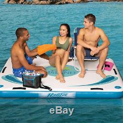 Banzai 85808 Gonflable Flottant Oasis Île Pont Avec Pompe À Air Et Kit De Réparation