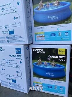 Nouveau Été Waves 10x30 Quick Set Piscine Gonflable Avec Pompe À Filtre