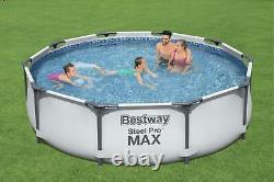 Piscine Bestway 366cm 12ft Garden Round Frame Above Ground Pool + Pump Set