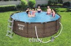 Piscine Rattan 366 CM 12ft Garden Round Above Ground Pool Avec Pump Set