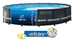 Ultra Black Wimming Pool Intex 488cm 16 Ft Garden Ground Pool + Pump Lader Gift