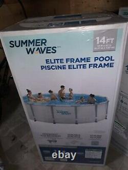 Vagues D'été 14 X 42 Elite Frame Over Ground Pool Filter Pool Couverture D'échelle